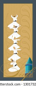 Mevlana and Dervish. EPS format Vector Drawing. Symbolic study of Mevlevi mystical dance.  It can be used as wall board, banner, gift card or book separator.