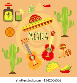 Mexica cultural collection. Vector illustration.