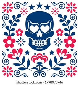 Mexical skull and flowers vector design, Halloween and Day of the Dead decoration - folk art style. Calavera pattern in navy blue and red, floral wallpaper background