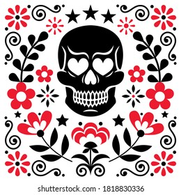 Mexical skull and flowers vector design, Halloween and Day of the Dead floral decoration - folk art style. Calavera pattern in black and red, folky wallpaper background
