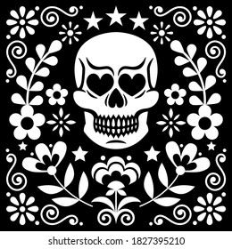 Mexical skull and flowers vector design, white Halloween and Day of the Dead floral decoration on black - folk art style. Calavera monochrome cool pattern, folky wallpaper background