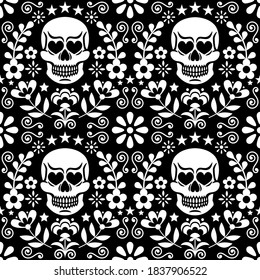 Mexical skull and flowers vector seamless pattern, white Halloween and Day of the Dead floral repetitive design on black - folk art style. Calavera monochrome cool pattern, folky wallpaper