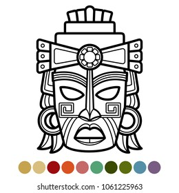 Mexican, african, aztec mask coloring page. Culture ethnic face. Vector illustration