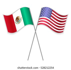 Mexican and American crossed flags. Mexico combined with United States of America isolated on white. Language learning, international business or travel concept.