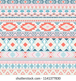 Mexican american indian pattern tribal ethnic motifs geometric vector background. Graphic native american tribal motifs textile print ethnic traditional design. Mayan clothes pattern design.