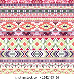 Mexican american indian pattern tribal ethnic motifs geometric seamless background. Vintage native american tribal motifs clothing fabric ethnic traditional design. Mayan clothes pattern design.