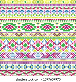 Mexican american indian pattern tribal ethnic motifs geometric seamless background.