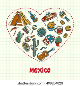Mexican associated symbols. Mexican national and cultural related and sketches with pen Mexican ethnic elements.