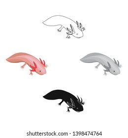 Mexican axolotl icon in cartoon,black style isolated on white background. Mexico country symbol stock vector illustration.