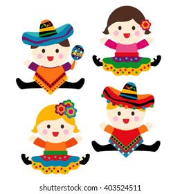 Mexican babies. Cute vector.