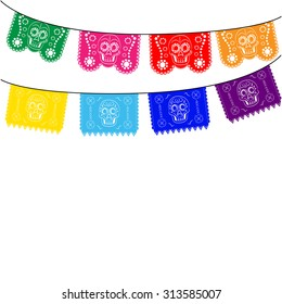 Mexican banner, mexico. multicolored template with hanging traditional mexican flags