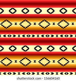 Mexican blanket geometric striped seamless pattern in yellow and red, vector