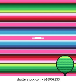 Mexican Blanket Stripes Seamless Vector Pattern. Pink Green Blue Serape Rug Texture with Threads. Background for Cinco de Mayo Party Decor or Mexican Food Restaurant Menu. Pattern Tile Swatch Included