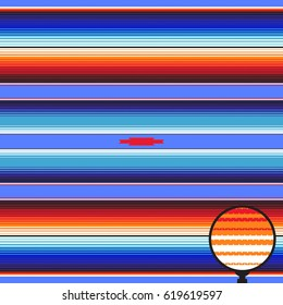 Mexican Blanket Stripes Seamless Vector Pattern. Cobalt Blue & Orange Rug Texture with Threads. Background for Cinco de Mayo Party Decor or Mexican Food Restaurant Menu. Pattern Tile Swatch Included.