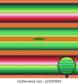 Mexican Blanket Stripes Seamless Vector Pattern. Orange Lime Green Serape Rug Threads Texture. Background for Cinco de Mayo Party Decor or Mexican Food Restaurant Menu. Pattern Tile Swatch Included.