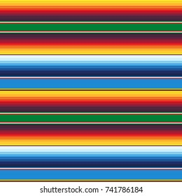 Mexican Blanket Stripes Seamless Vector Pattern. Colorful Mexican background.