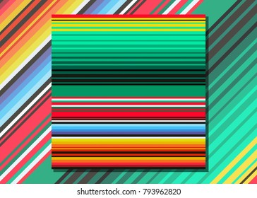 Mexican Blanket Stripes Seamless Vector Pattern. Typical colorful woven fabric from central america