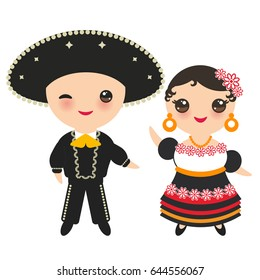 Mexican boy and girl in national costume and hat. Cartoon children in traditional Mexico dress. Isolated on white background. Vector