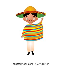 Mexican boy in traditional ethnic clothes with sombrero and poncho. Vector illustration in flat cartoon style