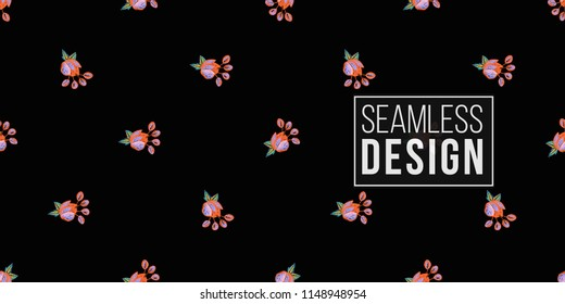 Mexican bright flower seamless pattern. Traditional elements on dark repeatable background. Watercolor style illustration on black backdrop.