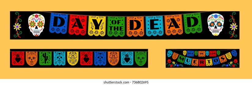 Mexican bunting for Day of the Dead (Dia de los Muertos). Horizontal web banners set