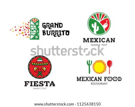 mexican burrito food logo design set stock vector royalty free rh shutterstock com mexican food lookout valley mexican food loganville ga
