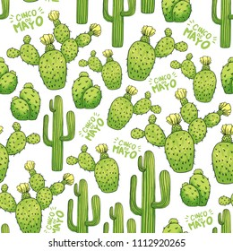 Mexican Cactus Seamless Pattern with Green Lettering Cinco De Mayo. Spines or Thorns and Flowers. Edible Esculent Cacti Like Saguaro, Indian Fig or Mammillaria. Latin theme