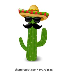 Mexican Cactus Sunglasses With Gradient Mesh, Vector Illustration