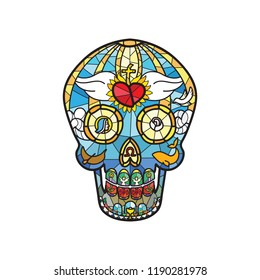 Mexican Calavera Skull in stained glass theme - color