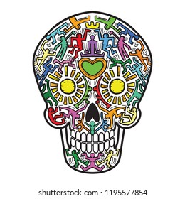 Mexican Calavera Skull street art theme - isolated