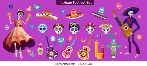 Mexican carnival items flat illustration. Sombrero hat, guitar, maraca shakers. Sugar skull, candles, flowers, decoration, cross, drink. Day of dead holiday attributes isolated on white background