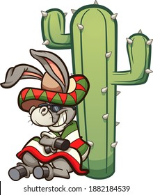 Mexican cartoon donkey resting on a cactus. Vector clip art illustration with simple gradients. Donkey and cactus on separate layers.