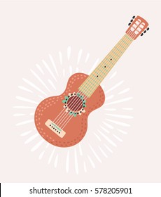 Mexican cartoon illustration of red mexican Guitar Fiesta party. Isolated elements. Hand drawn vector illustration