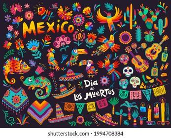 Mexican cartoon symbols of vector Dia de los Muertos or Day of Dead holiday background. Mexico Halloween sugar skulls, fiesta party sombrero hats and guitar, marigold flowers, altar and cactuses