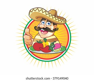 mexican chef chubby guy mascot cartoon character