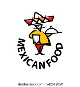 Mexican chef in sombrero for national restaurant design, such logo. Jpeg version also available in gallery