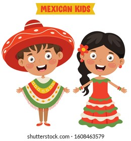 Mexican Children Wearing Traditional Clothes