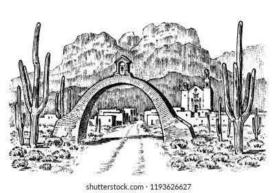 Mexican or Chilean town. Historical architecture with buildings and a gate. Engraved hand drawn in old sketch and monochrome vintage style. Travel postcard.