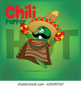 Mexican Chili Green Hot Pepper Vector Character Illustration