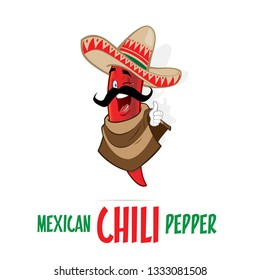 Mexican Chili Pepper mascot character illustration.