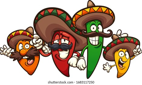 Mexican chili peppers of different colors and sizes. Vector cartoon clip art illustration with simple gradients. Each on a separate layer.