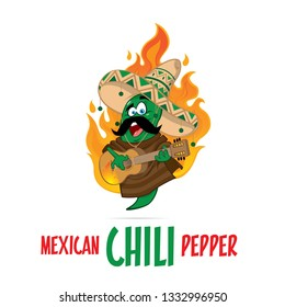 Mexican chilli pepper characters with sombrero hat playing Guitar mascot illustration