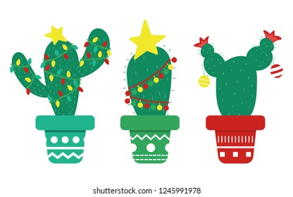 Mexican Christmas cactus with decorations, garland and stars. Plants in pots. Flat style vector illustration.