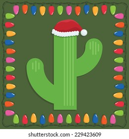 mexican christmas decoration with cactus and frame of lights