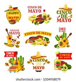 Mexican Cinco de Mayo fiesta party badge. Sombrero hat, maracas and chili pepper or jalapeno, tequila margarita, cactus and guitar, avocado guacamole, nachos and taco icon for mexican holiday design