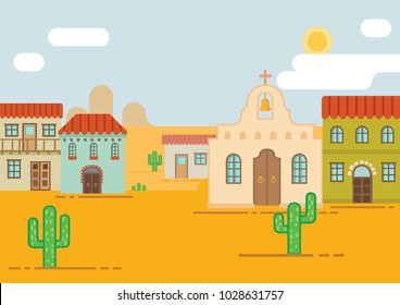 Mexican city in the desert. Flat. Background