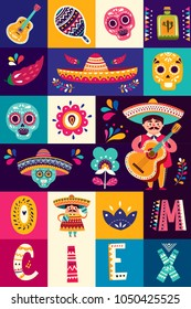 Mexican collection with Mexican symbols