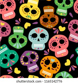 Mexican color vector skulls for day of the dead on the black background. Dia de los muertos. Illustration for banner site card walpaper design