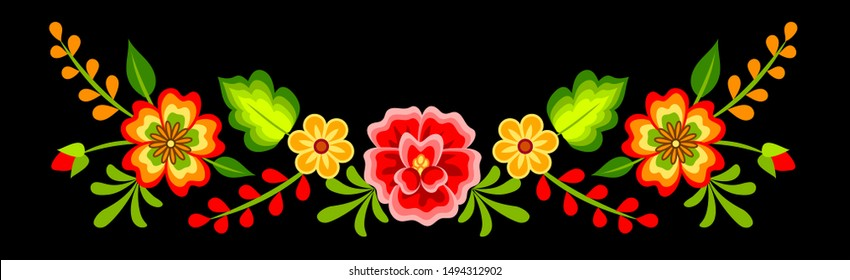 Mexican colorful bright floral border decoration on black background