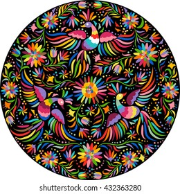 Mexican colorful and ornate ethnic round frame pattern. Birds and flowers on the black background.